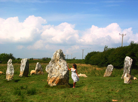 Dorian at the white quartz stone circle of Duloe